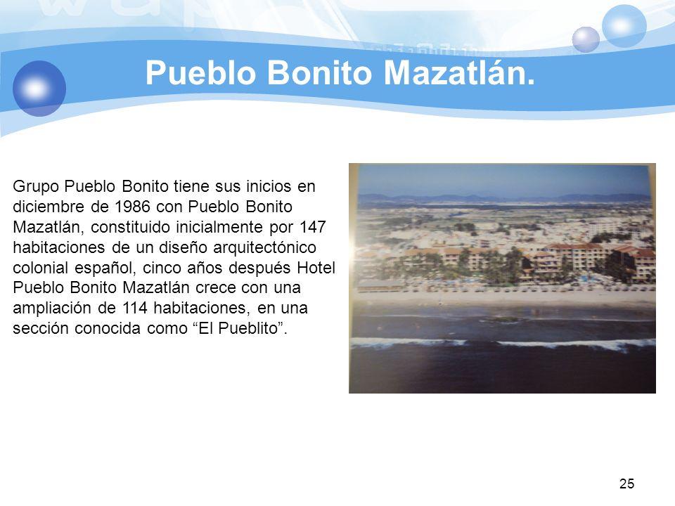 Pueblo Bonito Mazatlán. 25 Grupo Pueblo Bonito tiene sus inicios en diciembre de 1986 con Pueblo Bonito Mazatlán, constituido inicialmente por 147 hab