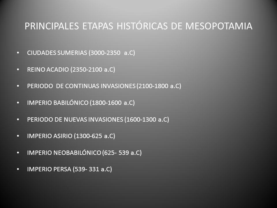 PRINCIPALES ETAPAS HISTÓRICAS DE MESOPOTAMIA CIUDADES SUMERIAS (3000-2350 a.C) REINO ACADIO (2350-2100 a.C) PERIODO DE CONTINUAS INVASIONES (2100-1800