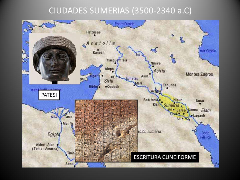 CIUDADES SUMERIAS (3500-2340 a.C) PATESI ESCRITURA CUNEIFORME