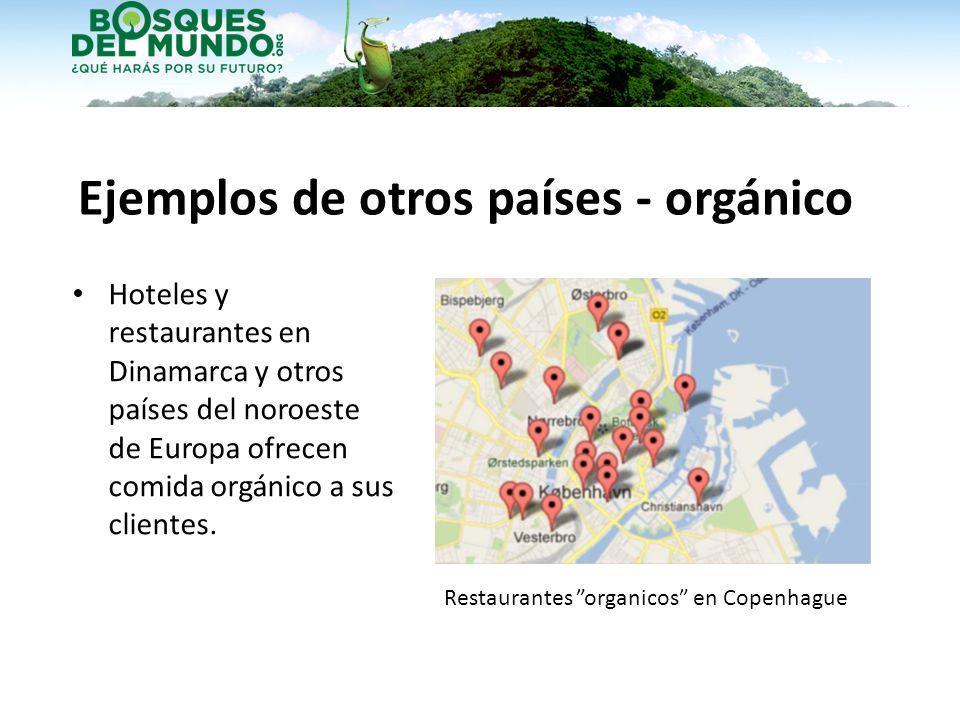 Ejemplos de otros países - orgánico Hoteles y restaurantes en Dinamarca y otros países del noroeste de Europa ofrecen comida orgánico a sus clientes.