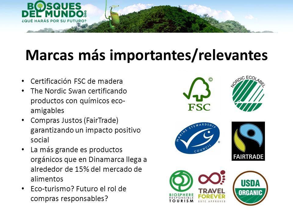 Marcas más importantes/relevantes Certificación FSC de madera The Nordic Swan certificando productos con químicos eco- amigables Compras Justos (FairT