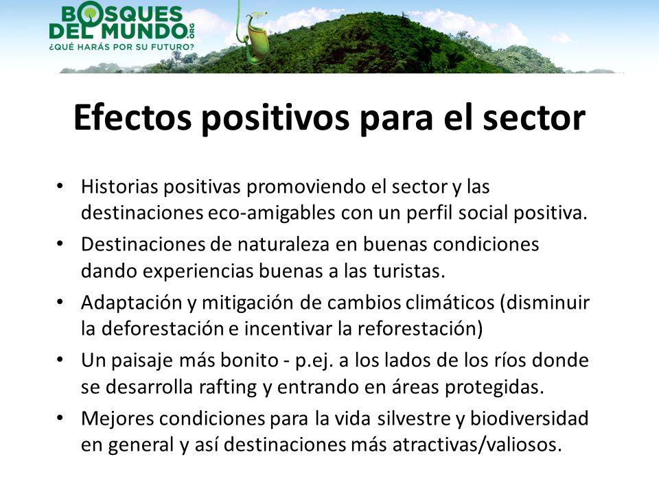 Efectos positivos para el sector Historias positivas promoviendo el sector y las destinaciones eco-amigables con un perfil social positiva. Destinacio