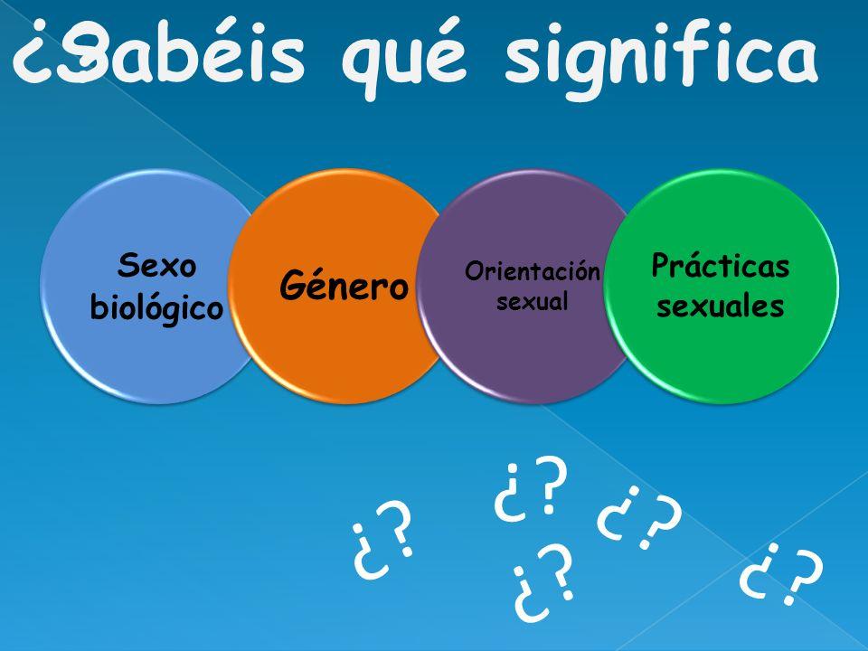Sexo biológico Género Orientación sexual Prácticas sexuales ¿?Sabéis qué significa ¿?
