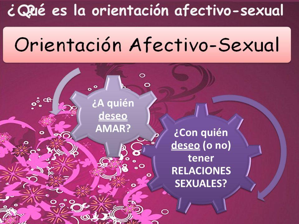Qué es la orientación afectivo-sexual ¿? ¿Con quién deseo (o no) tener RELACIONES SEXUALES? ¿A quién deseo AMAR?