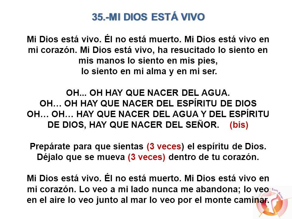 35.-MI DIOS ESTÁ VIVO35.-MI DIOS ESTÁ VIVO Mi Dios está vivo. Él no está muerto. Mi Dios está vivo en mi corazón. Mi Dios está vivo, ha resucitado lo