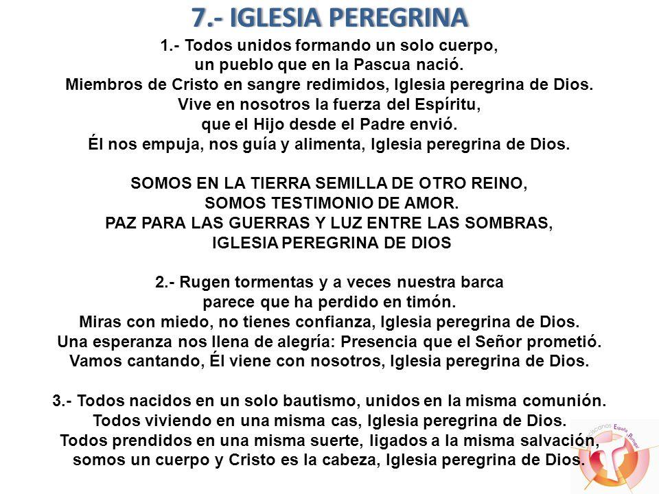 7.- IGLESIA PEREGRINA7.- IGLESIA PEREGRINA 1.- Todos unidos formando un solo cuerpo, un pueblo que en la Pascua nació. Miembros de Cristo en sangre re