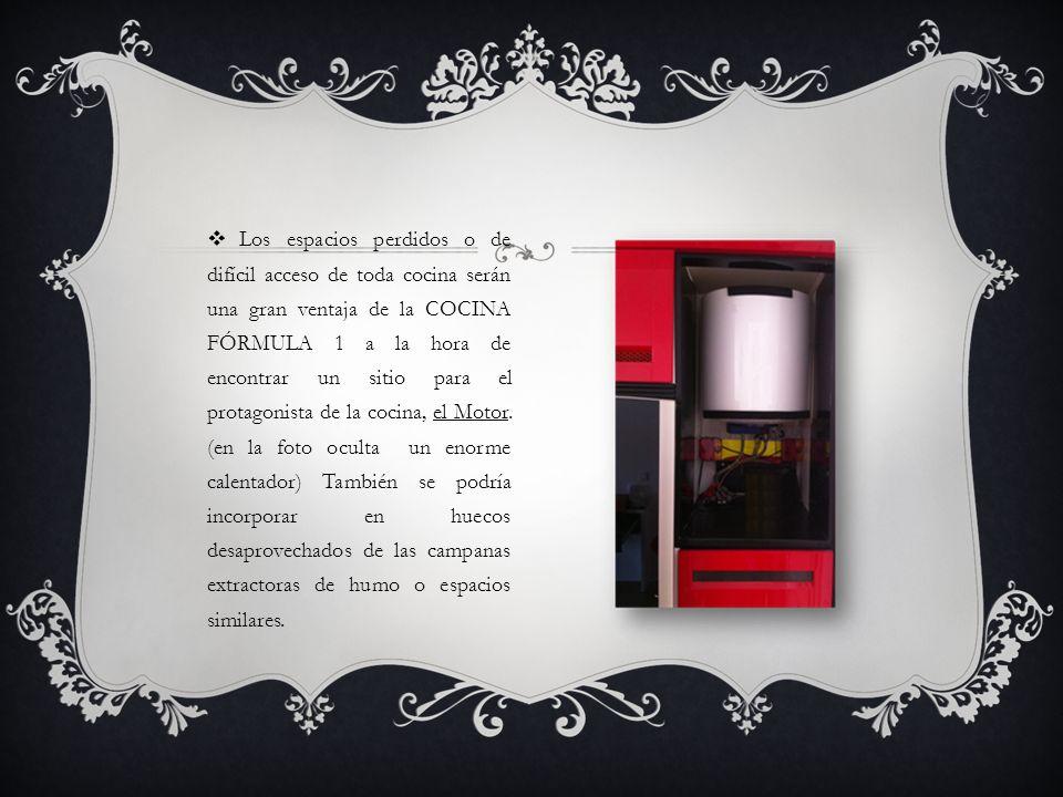 Los espacios perdidos o de difícil acceso de toda cocina serán una gran ventaja de la COCINA FÓRMULA 1 a la hora de encontrar un sitio para el protago