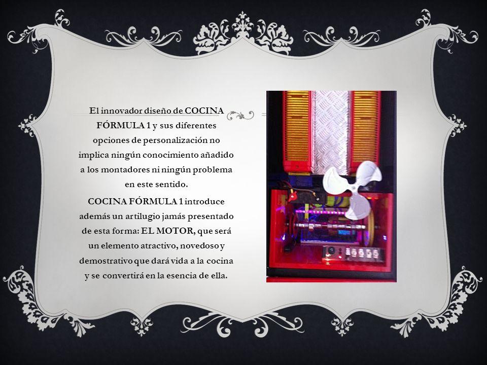 El innovador diseño de COCINA FÓRMULA 1 y sus diferentes opciones de personalización no implica ningún conocimiento añadido a los montadores ni ningún
