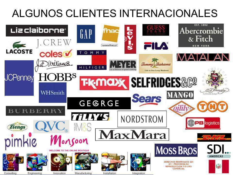 DERECHOS RESERVADOS SDI 2011 PROHIBIDA SU REPRODUCCION Y/O USO COMERCIAL ALGUNOS CLIENTES INTERNACIONALES