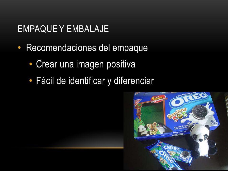 EMPAQUE Y EMBALAJE Recomendaciones del empaque Crear una imagen positiva Fácil de identificar y diferenciar