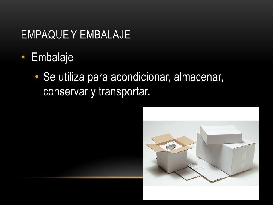 EMPAQUE Y EMBALAJE Embalaje Se utiliza para acondicionar, almacenar, conservar y transportar.