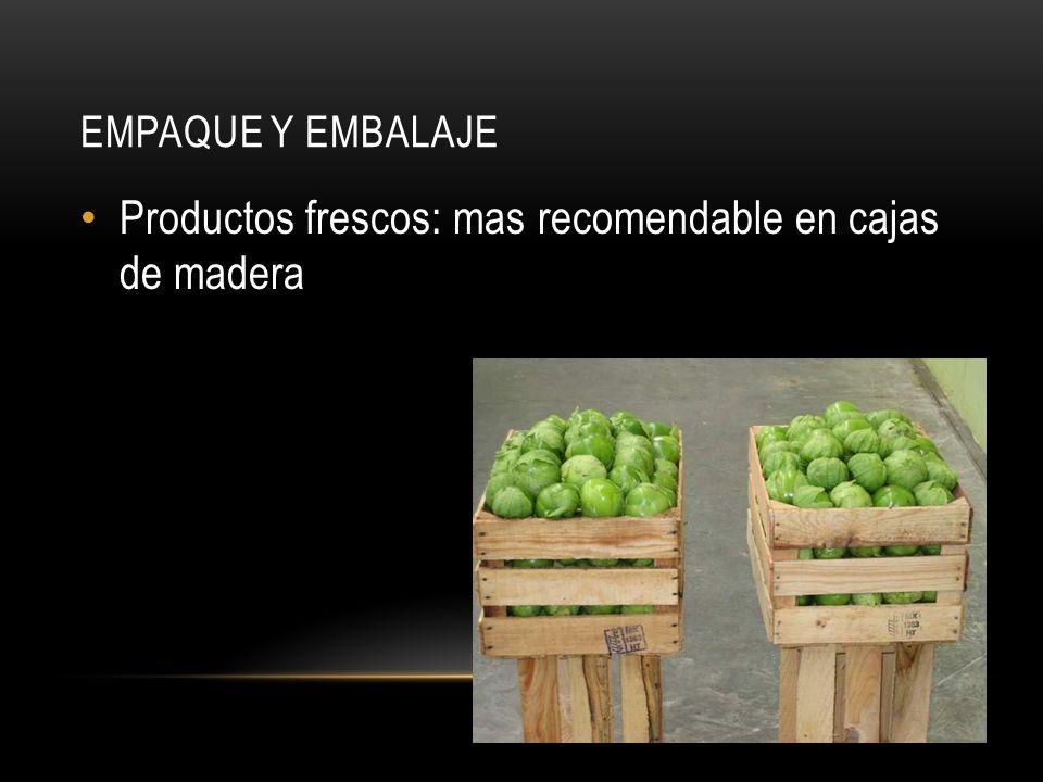 EMPAQUE Y EMBALAJE Productos frescos: mas recomendable en cajas de madera