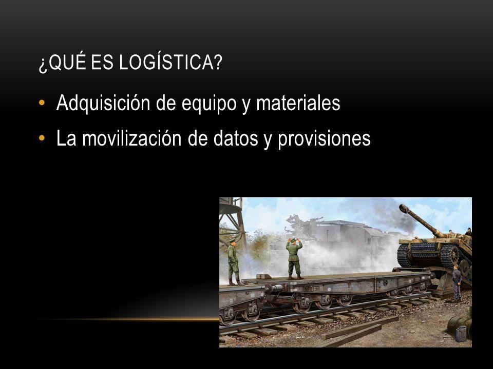 ¿QUÉ ES LOGÍSTICA? Adquisición de equipo y materiales La movilización de datos y provisiones