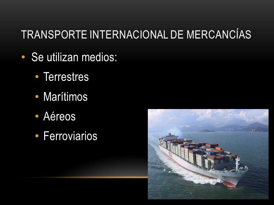 TRANSPORTE INTERNACIONAL DE MERCANCÍAS Se utilizan medios: Terrestres Marítimos Aéreos Ferroviarios