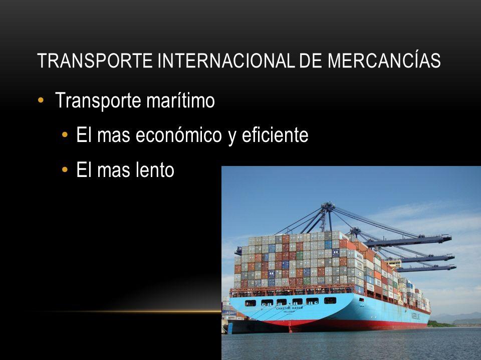 TRANSPORTE INTERNACIONAL DE MERCANCÍAS Transporte marítimo El mas económico y eficiente El mas lento
