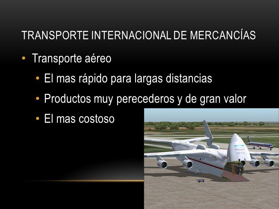 TRANSPORTE INTERNACIONAL DE MERCANCÍAS Transporte aéreo El mas rápido para largas distancias Productos muy perecederos y de gran valor El mas costoso