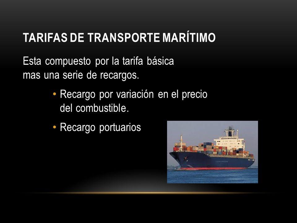 TARIFAS DE TRANSPORTE MARÍTIMO Esta compuesto por la tarifa básica mas una serie de recargos.