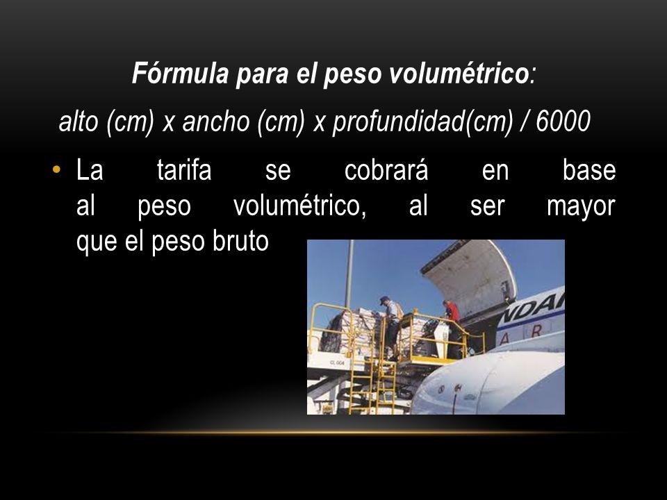 Fórmula para el peso volumétrico : alto (cm) x ancho (cm) x profundidad(cm) / 6000 La tarifa se cobrará en base al peso volumétrico, al ser mayor que el peso bruto