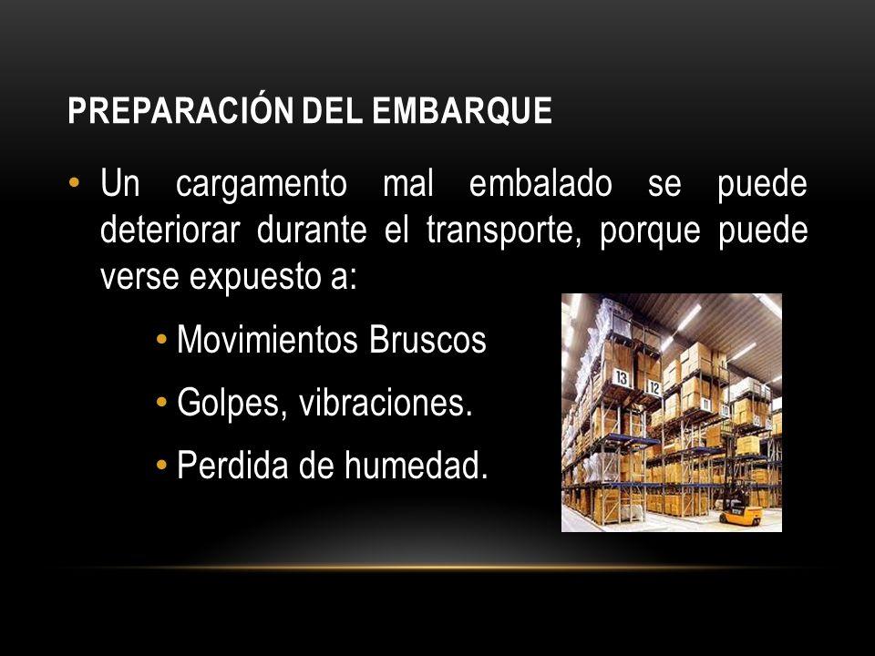 PREPARACIÓN DEL EMBARQUE Un cargamento mal embalado se puede deteriorar durante el transporte, porque puede verse expuesto a: Movimientos Bruscos Golpes, vibraciones.