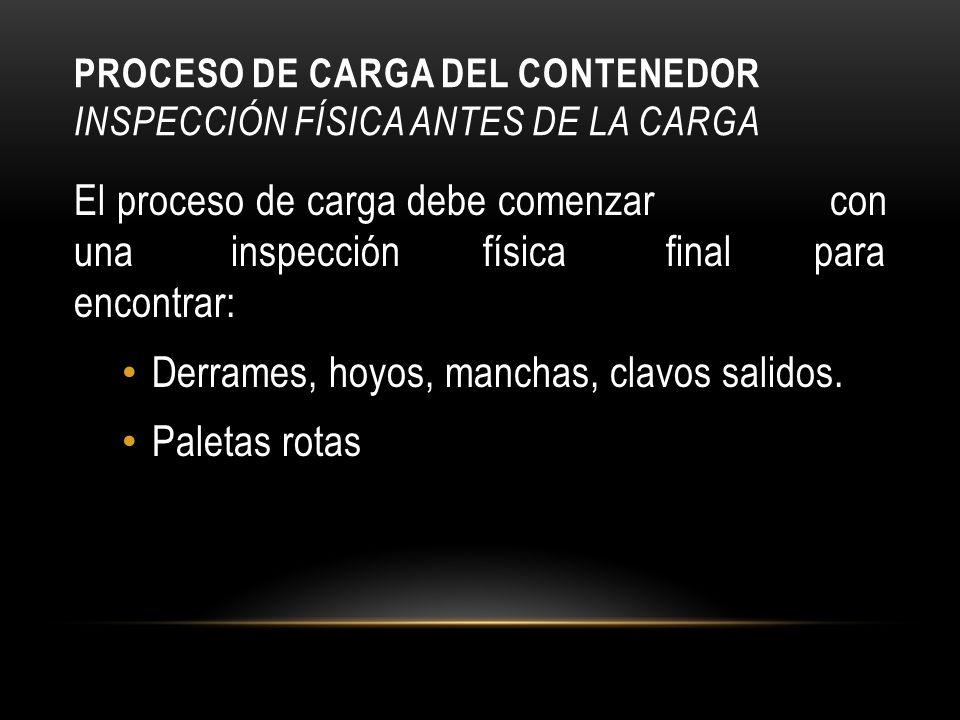 PROCESO DE CARGA DEL CONTENEDOR INSPECCIÓN FÍSICA ANTES DE LA CARGA El proceso de carga debe comenzar con una inspección física final para encontrar: Derrames, hoyos, manchas, clavos salidos.
