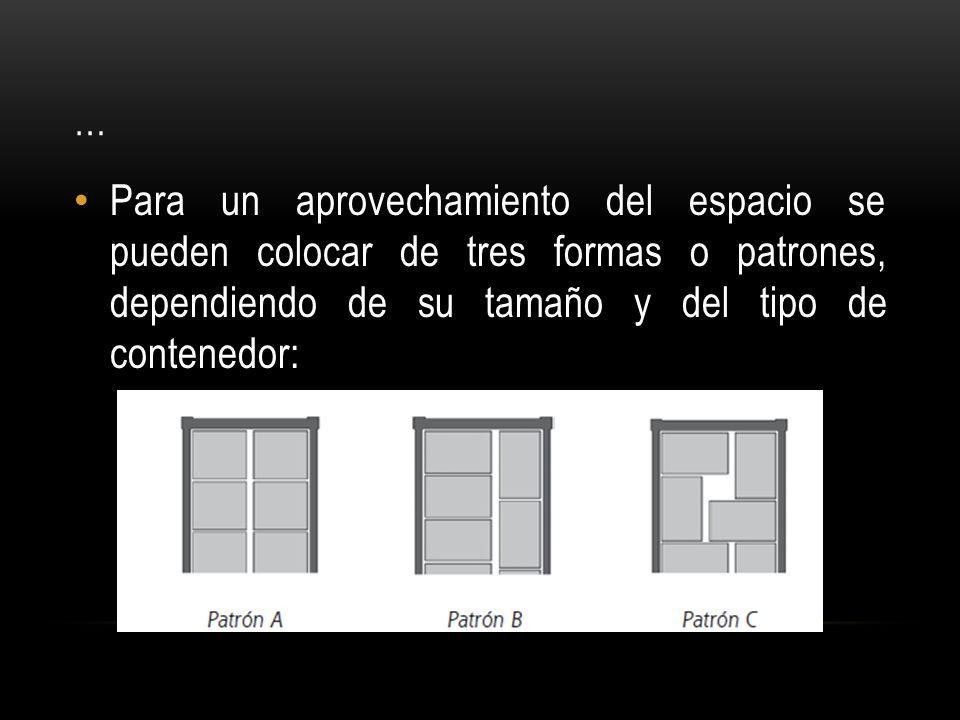 … Para un aprovechamiento del espacio se pueden colocar de tres formas o patrones, dependiendo de su tamaño y del tipo de contenedor: