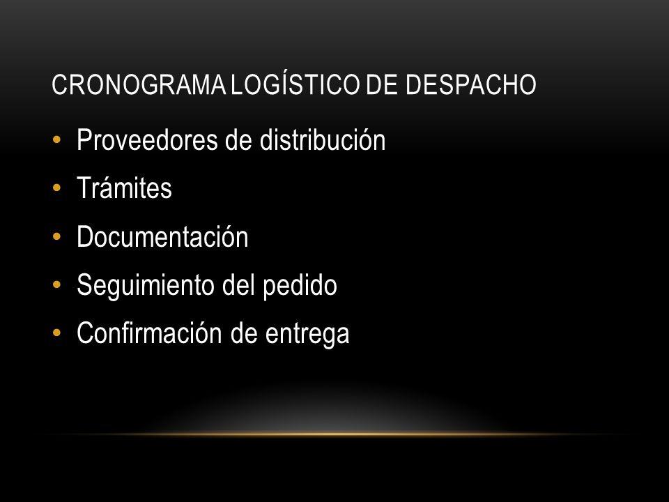 CRONOGRAMA LOGÍSTICO DE DESPACHO Proveedores de distribución Trámites Documentación Seguimiento del pedido Confirmación de entrega