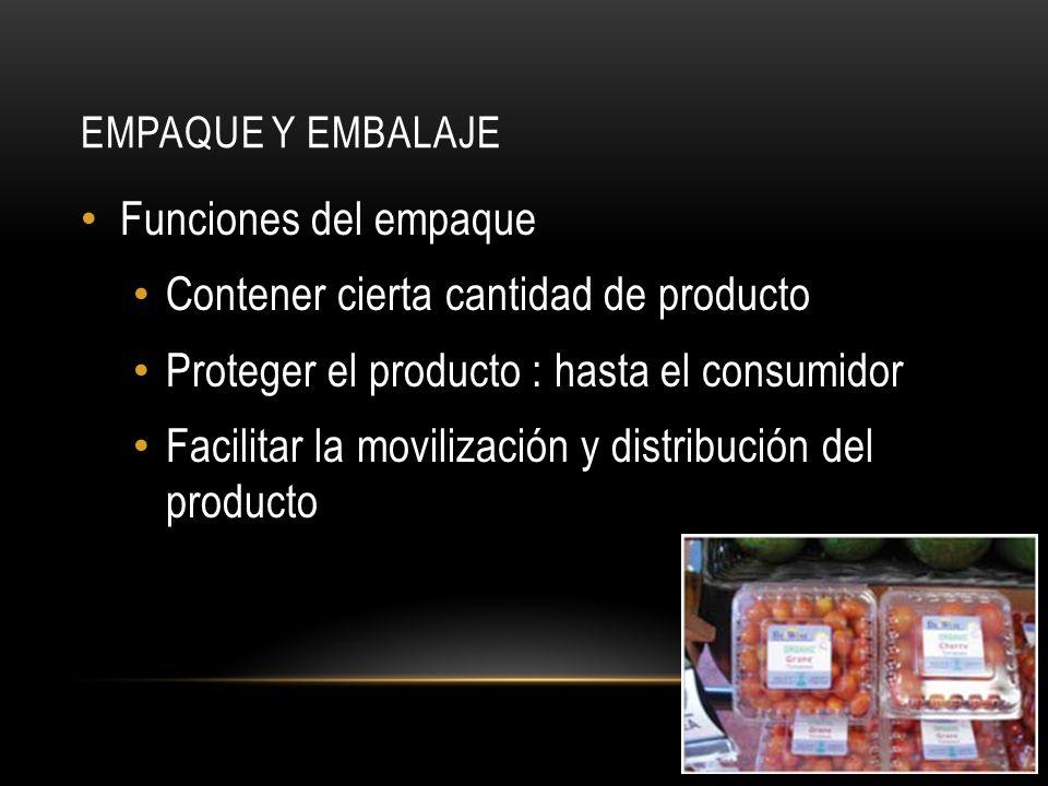 EMPAQUE Y EMBALAJE Funciones del empaque Contener cierta cantidad de producto Proteger el producto : hasta el consumidor Facilitar la movilización y distribución del producto