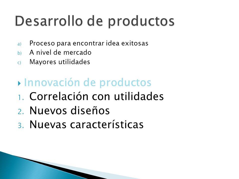 a) Proceso para encontrar idea exitosas b) A nivel de mercado c) Mayores utilidades Innovación de productos 1. Correlación con utilidades 2. Nuevos di