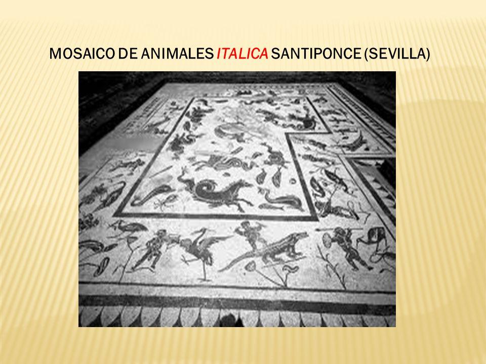 MOSAICO DE ANIMALES ITALICA SANTIPONCE (SEVILLA)