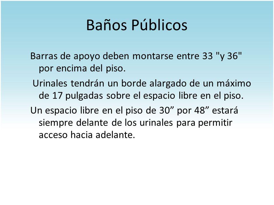 Baños Públicos Barras de apoyo deben montarse entre 33