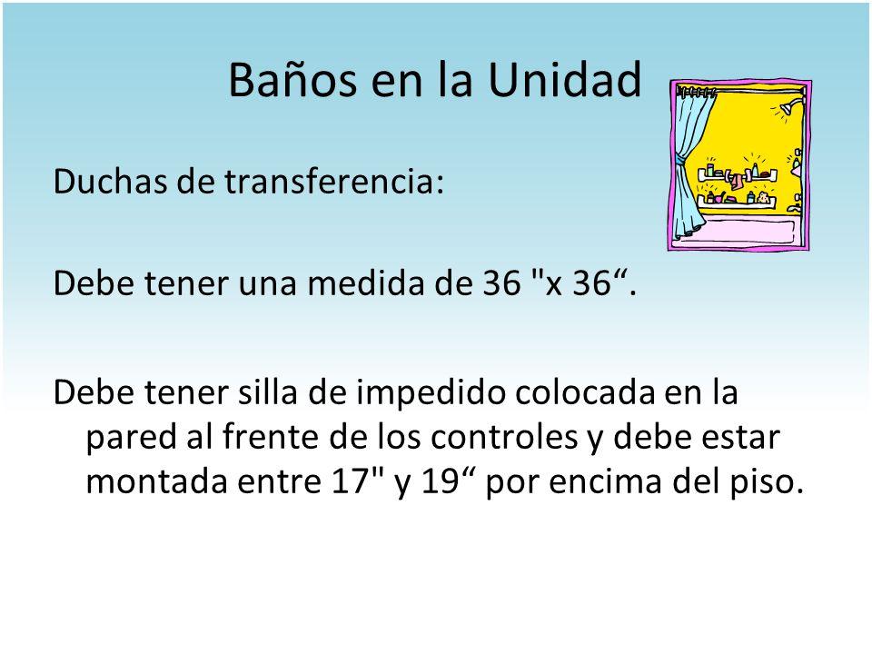 Baños en la Unidad Duchas de transferencia: Debe tener una medida de 36