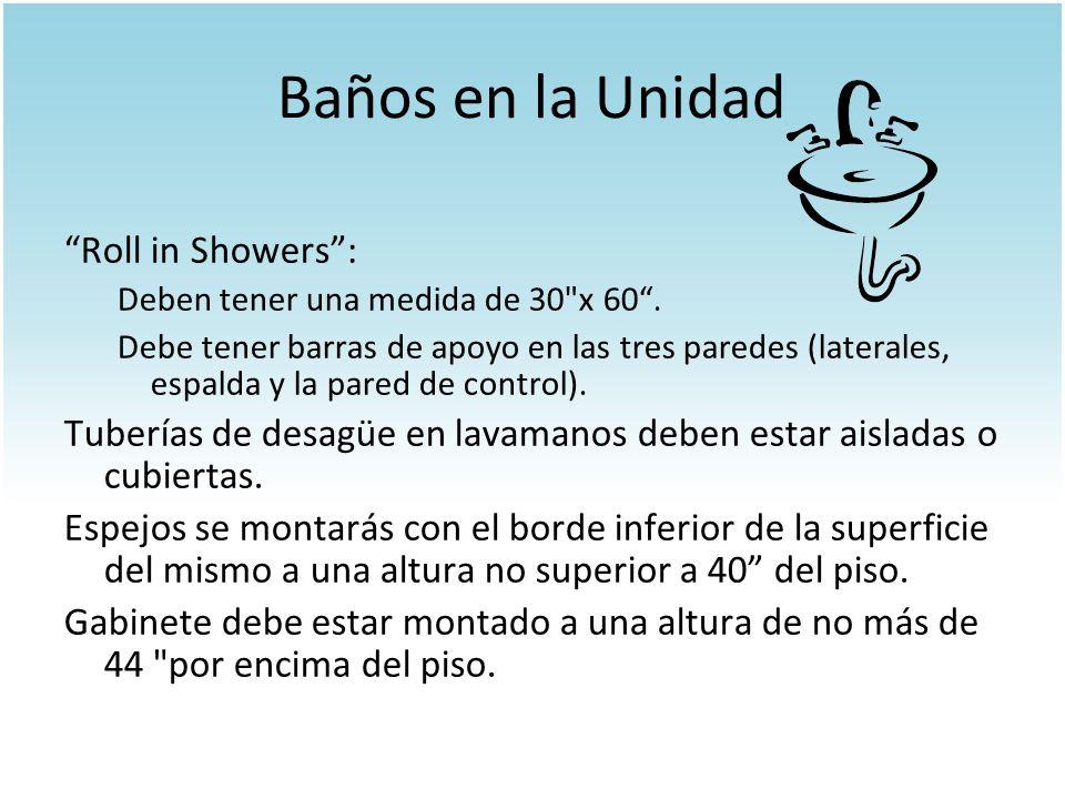 Baños en la Unidad Roll in Showers: Deben tener una medida de 30