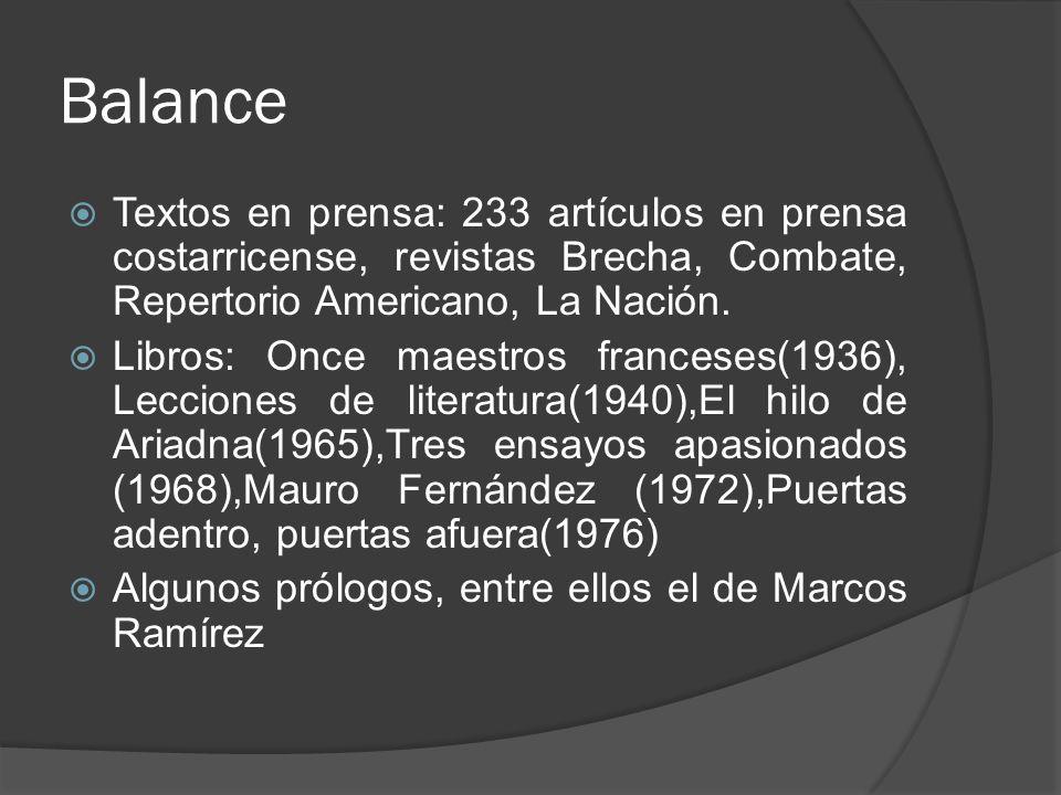 Balance Textos en prensa: 233 artículos en prensa costarricense, revistas Brecha, Combate, Repertorio Americano, La Nación. Libros: Once maestros fran