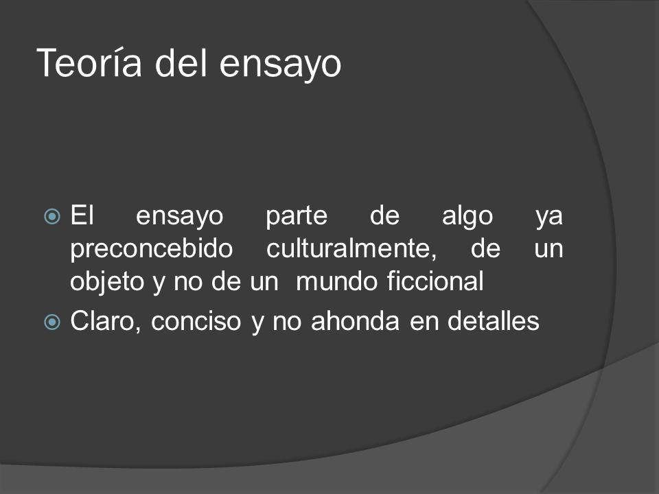 Teoría del ensayo El ensayo parte de algo ya preconcebido culturalmente, de un objeto y no de un mundo ficcional Claro, conciso y no ahonda en detalle