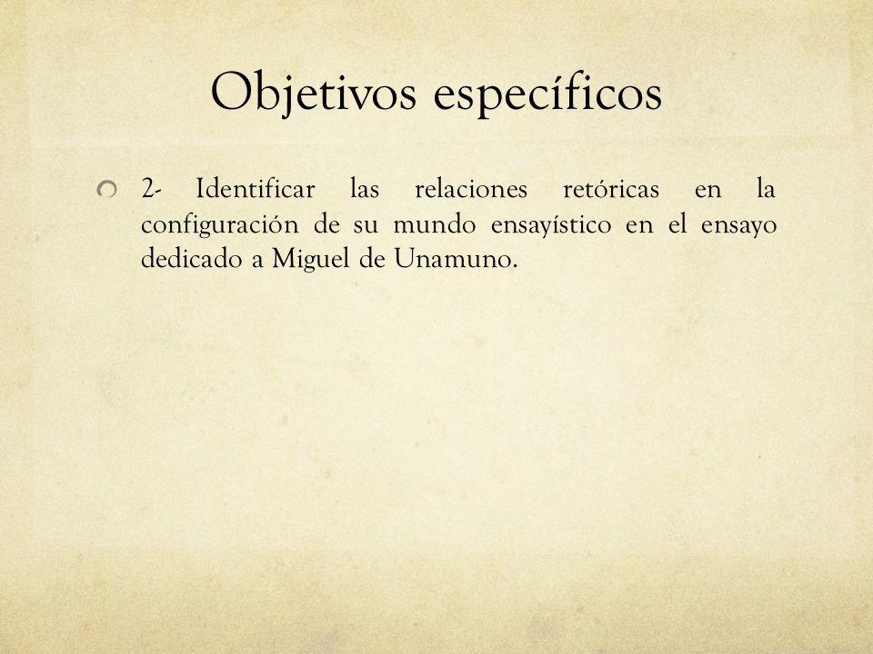 Objetivos específicos 2- Identificar las relaciones retóricas en la configuración de su mundo ensayístico en el ensayo dedicado a Miguel de Unamuno.
