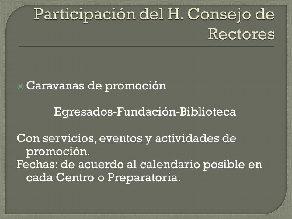 Caravanas de promoción Egresados-Fundación-Biblioteca Con servicios, eventos y actividades de promoción.