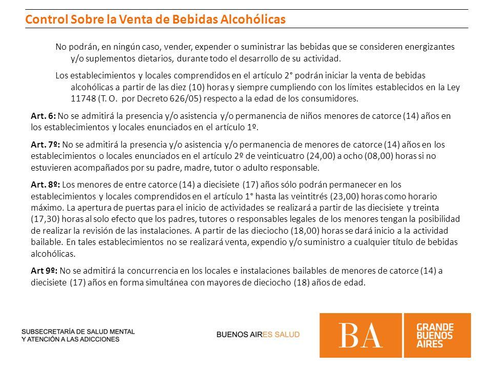 Control Sobre la Venta de Bebidas Alcohólicas No podrán, en ningún caso, vender, expender o suministrar las bebidas que se consideren energizantes y/o