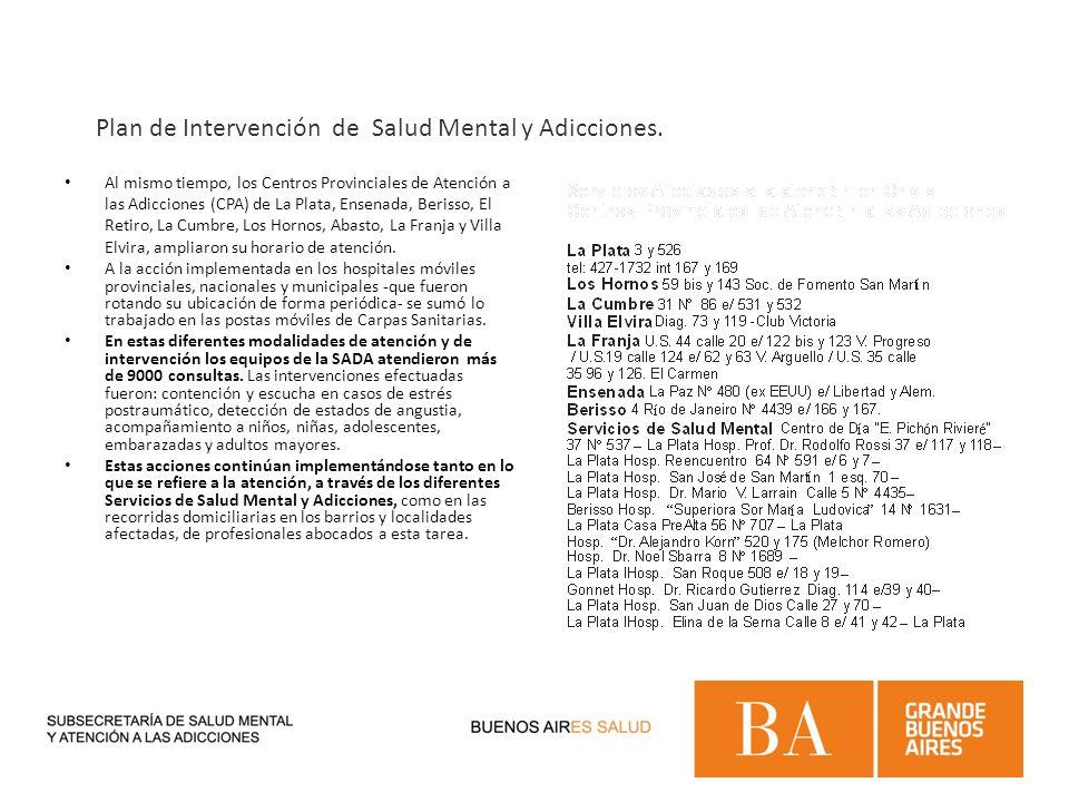 Al mismo tiempo, los Centros Provinciales de Atención a las Adicciones (CPA) de La Plata, Ensenada, Berisso, El Retiro, La Cumbre, Los Hornos, Abasto,