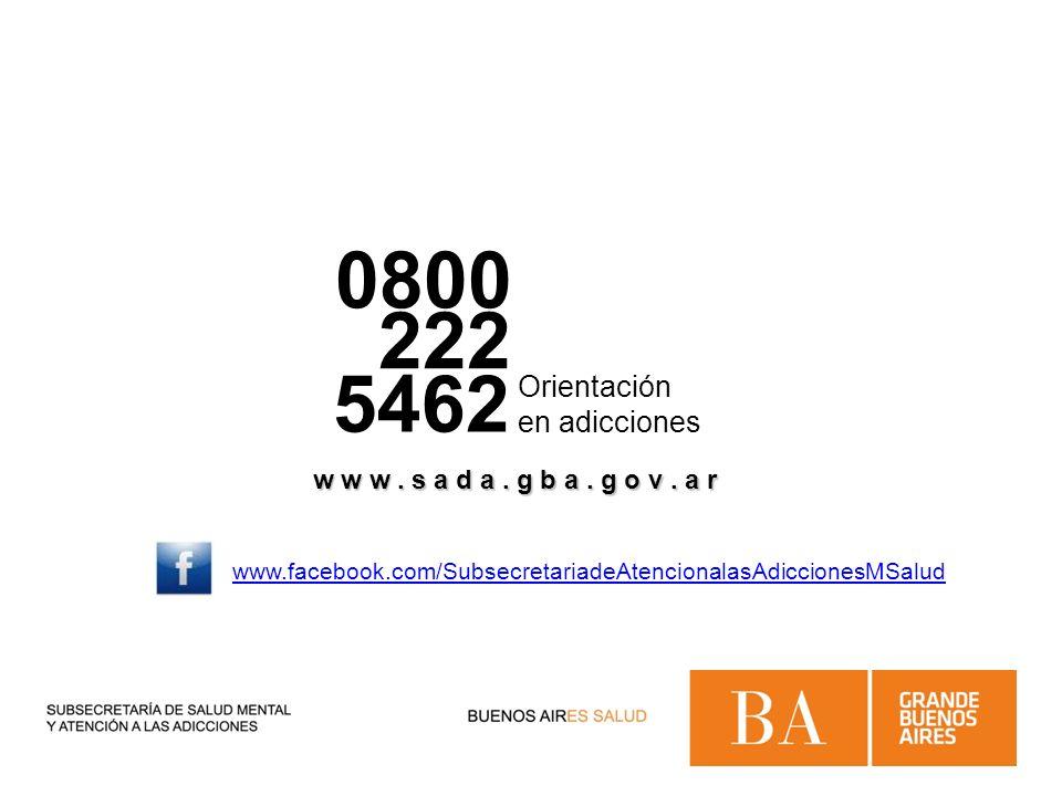 0800 222 5462 Orientación en adicciones w w w. s a d a. g b a. g o v. a r www.facebook.com/SubsecretariadeAtencionalasAdiccionesMSalud