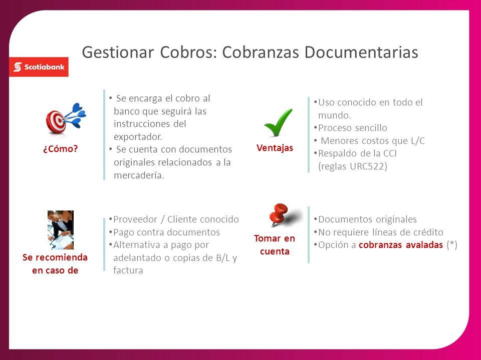 Gestionar Cobros: Cobranzas Documentarias Se encarga el cobro al banco que seguirá las instrucciones del exportador. Se cuenta con documentos original