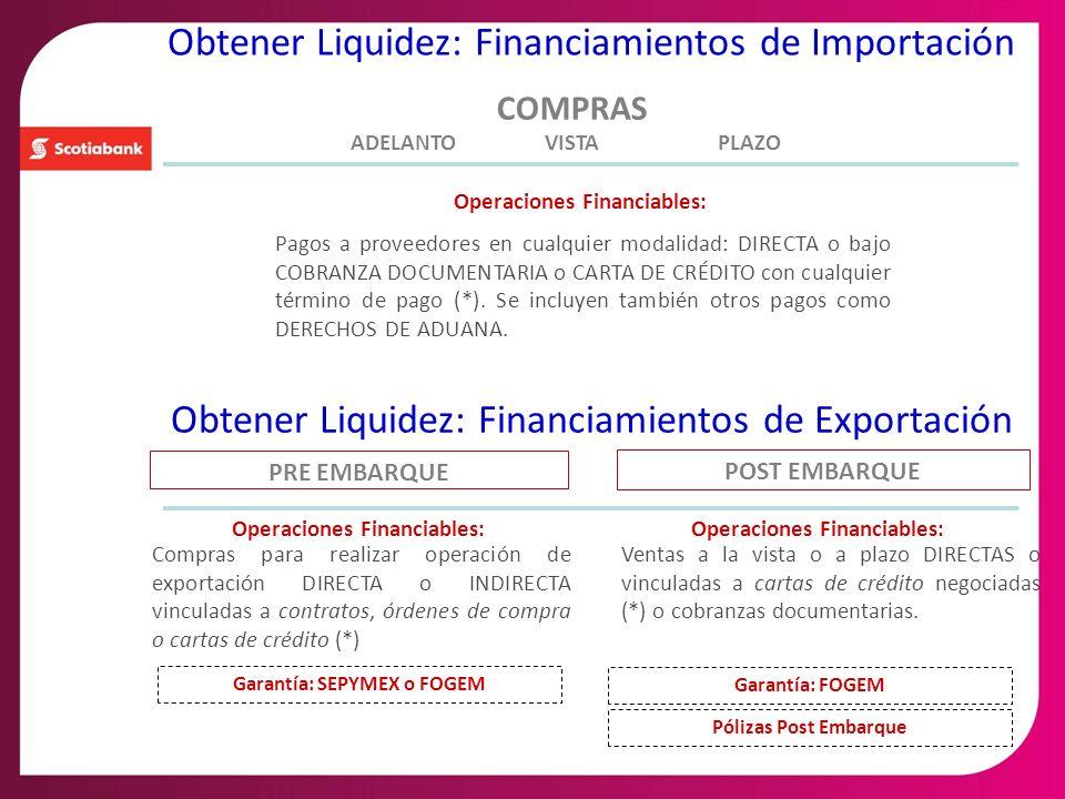 PRE EMBARQUE Compras para realizar operación de exportación DIRECTA o INDIRECTA vinculadas a contratos, órdenes de compra o cartas de crédito (*) Oper