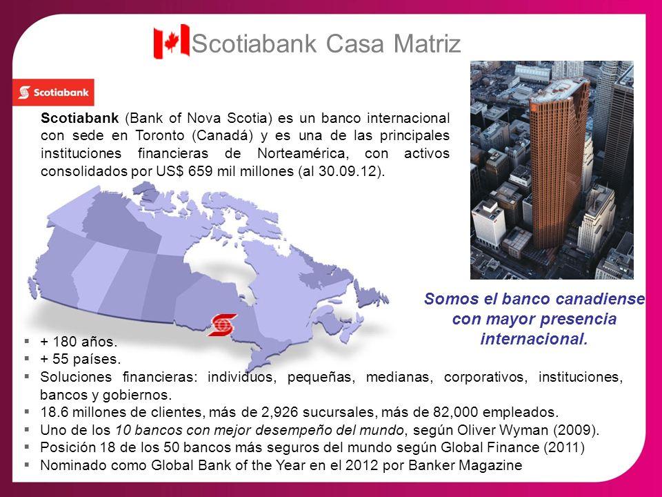 Scotiabank Casa Matriz Scotiabank (Bank of Nova Scotia) es un banco internacional con sede en Toronto (Canadá) y es una de las principales institucion