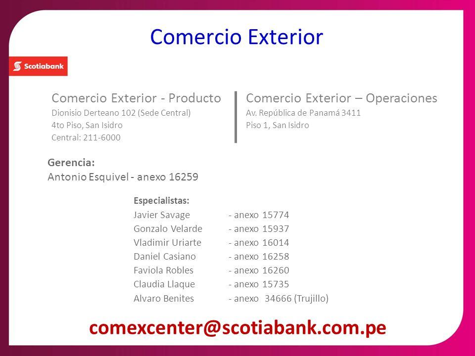 Comercio Exterior - Producto Dionisio Derteano 102 (Sede Central) 4to Piso, San Isidro Central: 211-6000 Comercio Exterior Gerencia: Antonio Esquivel