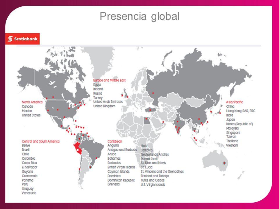 Scotiabank Perú: Comercio Exterior Scotiabank Perú S.A.A 2do Banco en Patrimonio con US$1,815MM 3er Banco en Activos US$10,560MM, (Préstamos US$8,243MM y Depósitos US$7,110MM) 7,756 empleados en el Grupo Scotiabank Cifras al 31.3.13 Extensa Red de Agencias a Nivel Nacional + de 285 oficinas (Incl Crediscotia) Amplia red de Bancos corresponsales + de 1,200 bancos alrededor del mundo Servicios y Financiamientos de Comercio Exterior – Experiencia y conocimiento – Servicio ágil