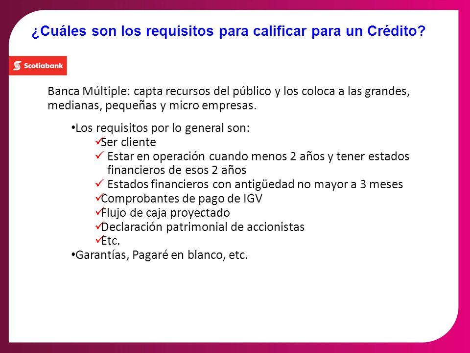 ¿Cuáles son los requisitos para calificar para un Crédito? Banca Múltiple: capta recursos del público y los coloca a las grandes, medianas, pequeñas y