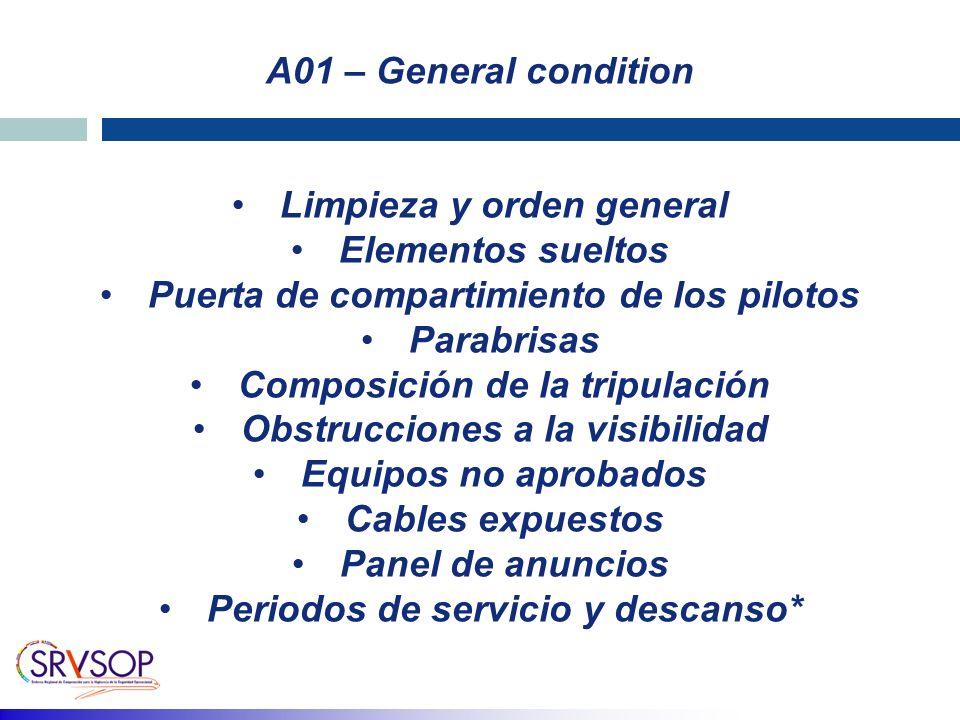 Limpieza y orden general Elementos sueltos Puerta de compartimiento de los pilotos Parabrisas Composición de la tripulación Obstrucciones a la visibil