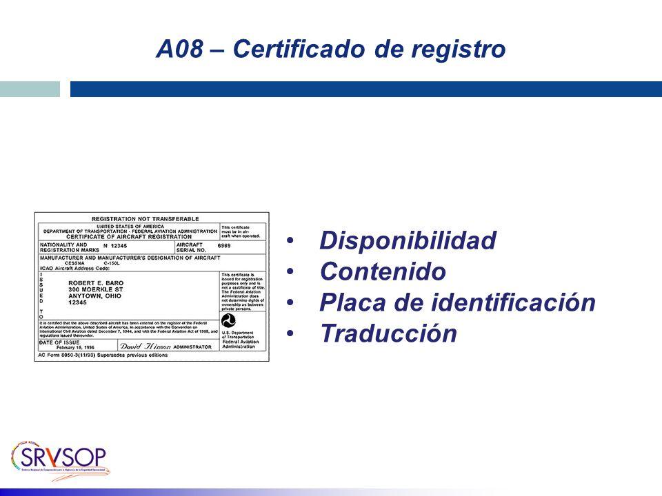 A08 – Certificado de registro Disponibilidad Contenido Placa de identificación Traducción