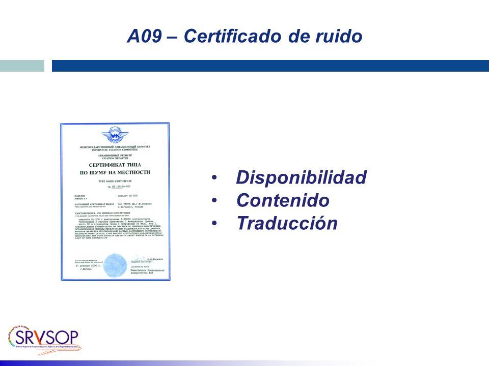 A09 – Certificado de ruido Disponibilidad Contenido Traducción