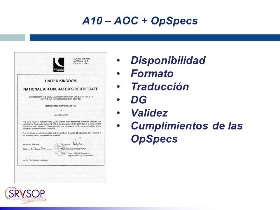 A10 – AOC + OpSpecs Disponibilidad Formato Traducción DG Validez Cumplimientos de las OpSpecs