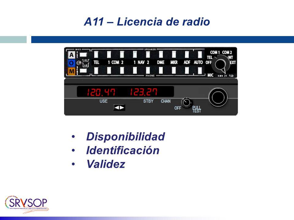 A11 – Licencia de radio Disponibilidad Identificación Validez